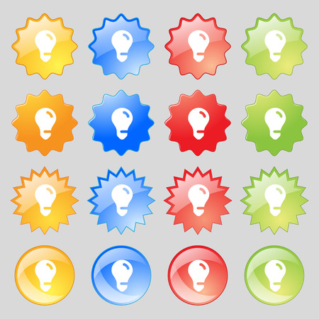 fluorescent lights: light bulb, idea icon sign. Set from fourteen multi-colored glass buttons with place for text. Vector illustration Illustration