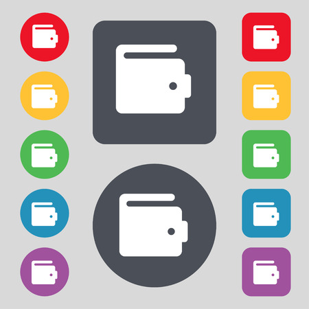 chamois leather: purse icon sign. A set of 12 colored buttons. Flat design. Vector illustration Illustration
