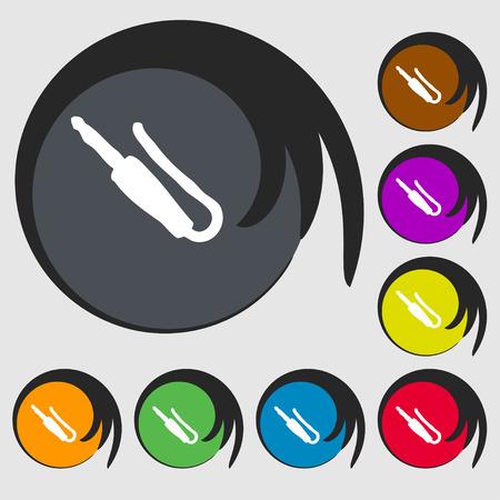 mini jack: plug, mini jack icon sign. Symbol on eight colored buttons. Vector illustration