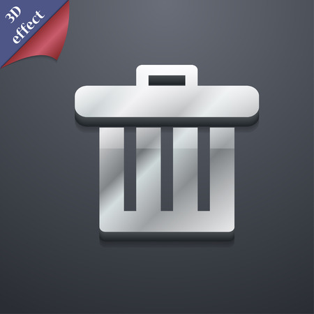discard: Recycle bin icon symbol. 3D style. Trendy, modern design with space for your text Vector illustration