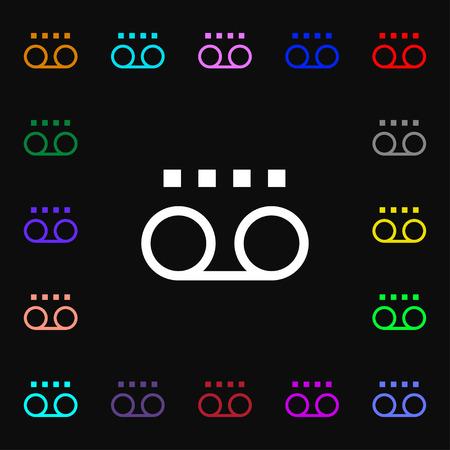 casette: audio cassette icon sign. Lots of colorful symbols for your design. Vector illustration Illustration