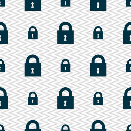 safest: closed lock icon sign. Seamless pattern with geometric texture. Vector illustration