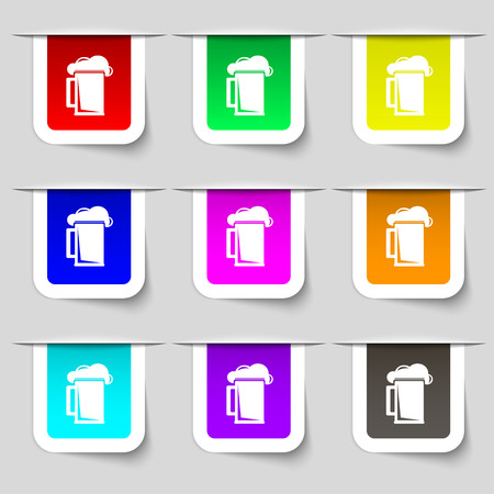 guinness: glass of beer icon sign. Set of multicolored modern labels for your design. Vector illustration