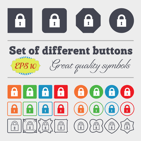 10 fingers: closed lock icon sign. Big set of colorful, diverse, high-quality buttons. Vector illustration