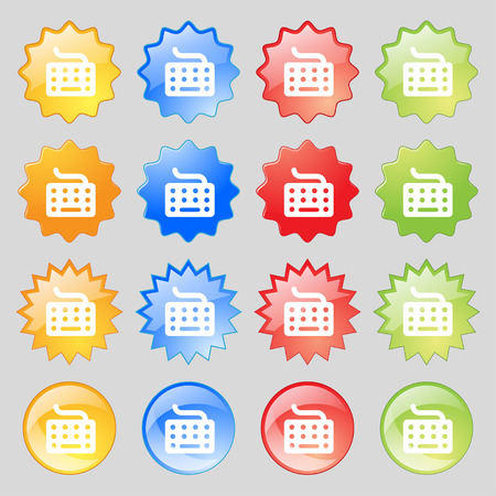 inputting: keyboard icon sign. Set from fourteen multi-colored glass buttons with place for text. Vector illustration