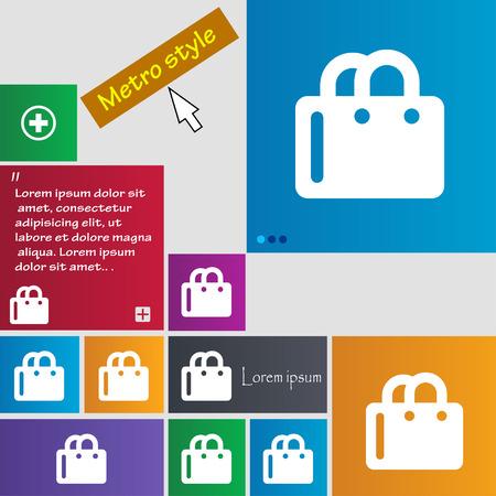 shopping bag icon: Einkaufstasche-Symbol-Zeichen. Tasten. Moderne Schnittstelle Website Buttons mit Cursorzeiger. Vektor-Illustration