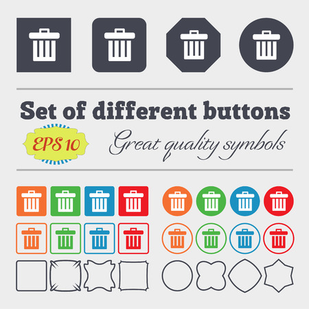 garbage tank: Recycle bin icon sign. Big set of colorful, diverse, high-quality buttons. Vector illustration