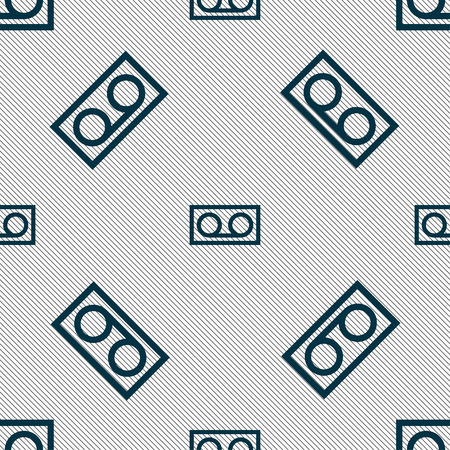 electronic 80s: audio cassette icon sign. Seamless pattern with geometric texture. Vector illustration Illustration