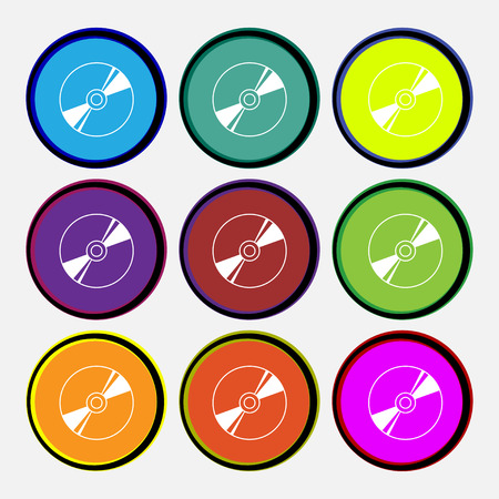 compact disk: Cd, DVD, compact disk, blue ray icon sign. Nine multi colored round buttons. Vector illustration
