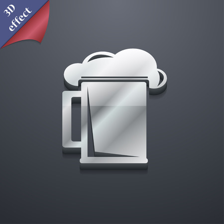 guinness: glass of beer icon symbol. 3D style. Trendy, modern design with space for your text Vector illustration