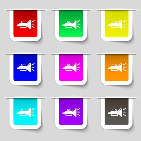 brass instrument: trumpet, brass instrument icon sign. Set of multicolored modern labels for your design. Vector illustration Illustration