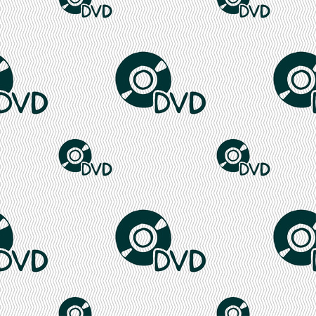 storage data product: dvd icon sign. Seamless pattern with geometric texture. Vector illustration Illustration