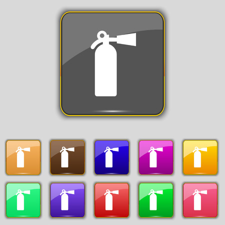 suppression: fire extinguisher icon sign. Set with eleven colored buttons for your site. Vector illustration Illustration