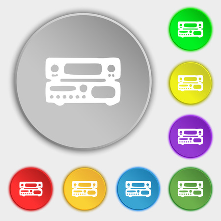 hifi: radio, receiver, amplifier icon sign. Symbol on five flat buttons. Vector illustration