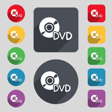 storage data product: dvd icon sign. A set of 12 colored buttons and a long shadow. Flat design. Vector illustration