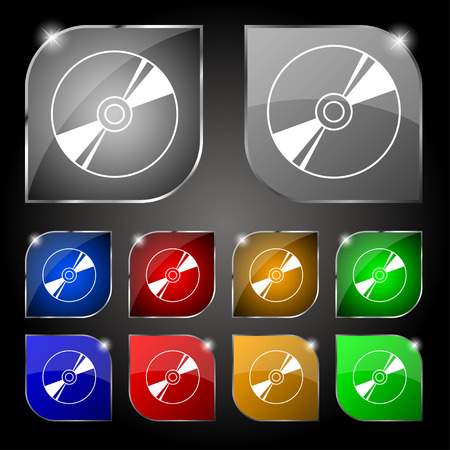 blue ray: Cd, DVD, compact disk, blue ray icon sign. Set of ten colorful buttons with glare. Vector illustration