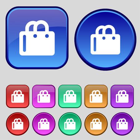 shopping bag icon: Einkaufstasche-Symbol-Zeichen. Eine Reihe von zw�lf vintage Tasten f�r Ihr Design. Vektor-Illustration