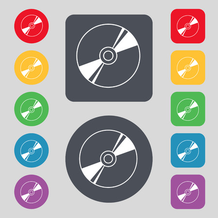 Cd, DVD, compact disk, blue ray icon sign. A set of 12 colored buttons. Flat design. Vector illustration Illustration