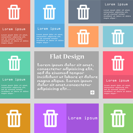 recyclable waste: Recycle bin icon sign. Set of multicolored buttons with space for text. Vector illustration