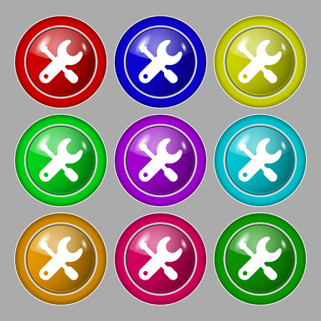 trackpad: screwdriver, key, settings icon sign. symbol on nine round colourful buttons. Vector illustration