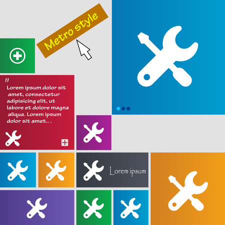 trackpad: screwdriver, key, settings icon sign. buttons. Modern interface website buttons with cursor pointer. Vector illustration Illustration