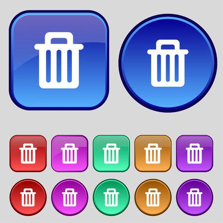 papelera de reciclaje: Papelera de reciclaje icono de signo. Un conjunto de doce botones de �poca para su dise�o. Ilustraci�n vectorial