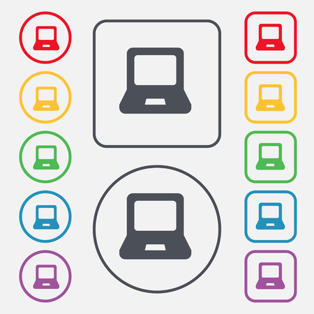 key pad: Laptop icon sign. symbol on the Round and square buttons with frame. Vector illustration
