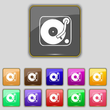 oldies: Gramophone, vinyl icon sign. Set with eleven colored buttons for your site. Vector illustration