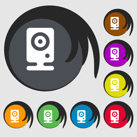 netbook: Web cam icon sign. Symbol on eight colored buttons. Vector illustration Illustration