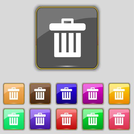 papelera de reciclaje: Papelera de reciclaje icono de signo. Set con once botones de colores para su sitio. Ilustraci�n vectorial Vectores
