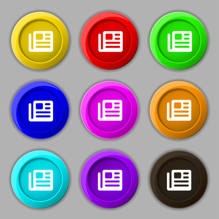 magazine stack: book, newspaper icon sign. symbol on nine round colourful buttons. Vector illustration