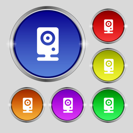 web cam: Web cam icon sign. Round symbol on bright colourful buttons. Vector illustration