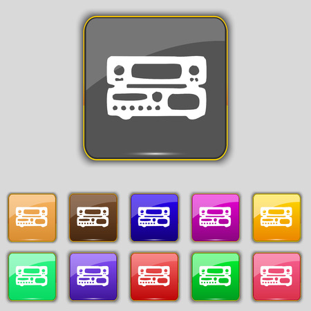 hifi: radio, receiver, amplifier icon sign. Set with eleven colored buttons for your site. Vector illustration
