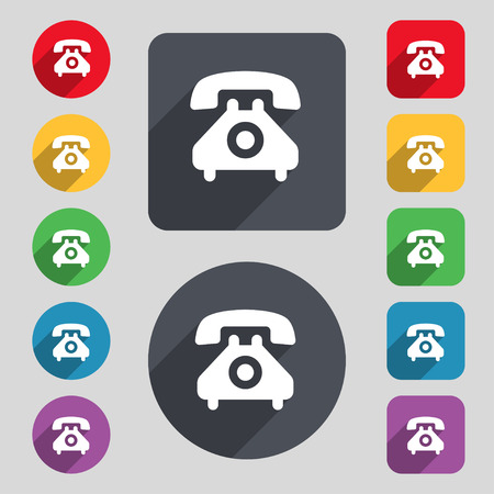 cordless phone: retro telephone handset  icon sign. A set of 12 colored buttons and a long shadow. Flat design. Vector illustration