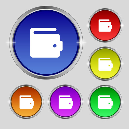 change purse: purse icon sign. Round symbol on bright colourful buttons. Vector illustration