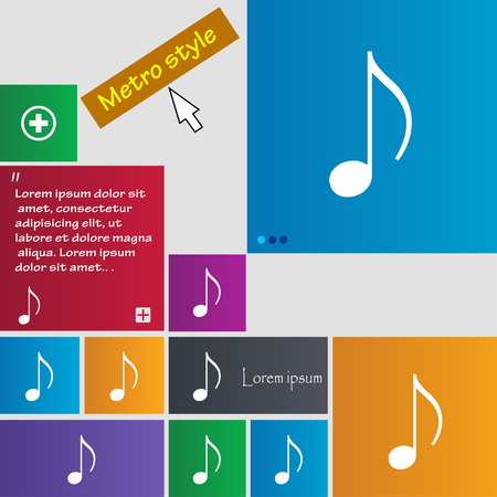 ringtone: musical note, music, ringtone icon sign. buttons. Modern interface website buttons with cursor pointer. Vector illustration Illustration