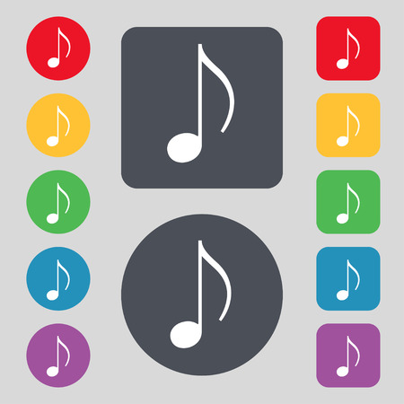 accord: musical note, music, ringtone icon sign. A set of 12 colored buttons. Flat design. Vector illustration