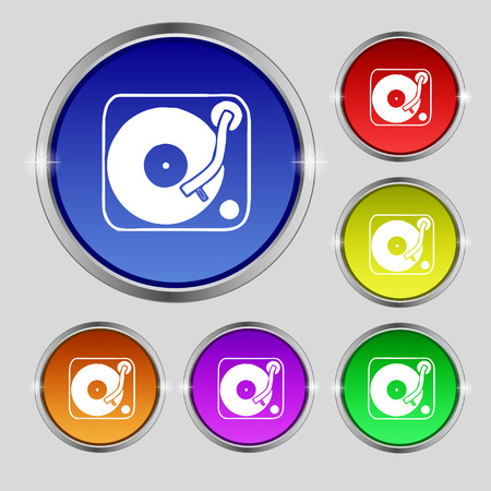 oldies: Gramophone, vinyl icon sign. Round symbol on bright colourful buttons. Vector illustration