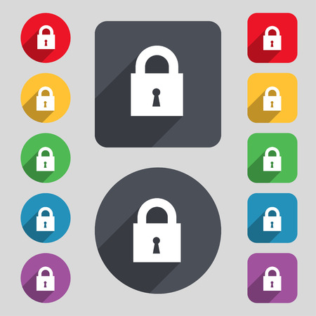 safest: closed lock icon sign. A set of 12 colored buttons and a long shadow. Flat design. Vector illustration