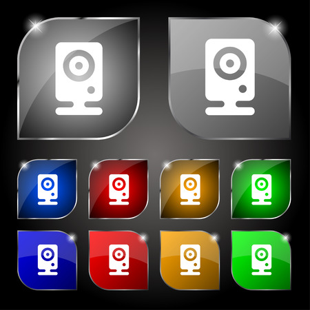 web cam: Web cam icon sign. Set of ten colorful buttons with glare. Vector illustration