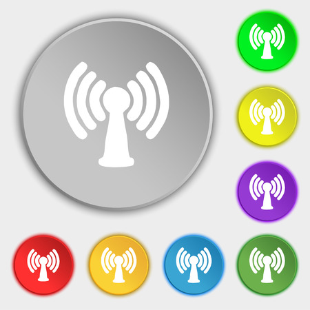 wireless lan: Wi-fi, internet icon sign. Symbol on five flat buttons. Vector illustration