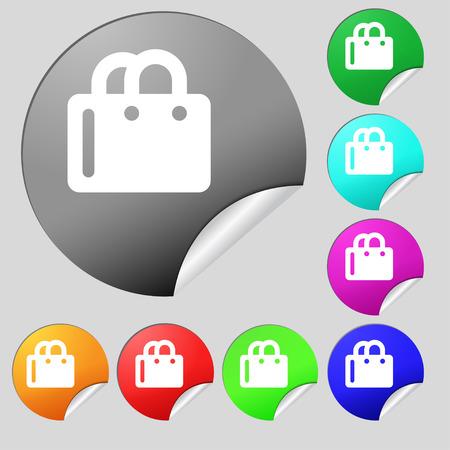 shopping bag icon: Einkaufstasche-Symbol-Zeichen. Set von acht mehrfarbige Runde Schaltfl�chen, Aufkleber. Vektor-Illustration