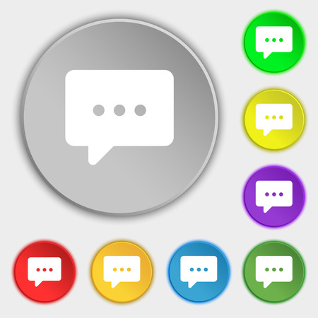 halfone: Cloud of thoughts icon sign. Symbol on five flat buttons. Vector illustration
