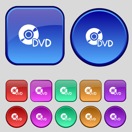 storage data product: dvd icon sign. A set of twelve vintage buttons for your design. Vector illustration Illustration