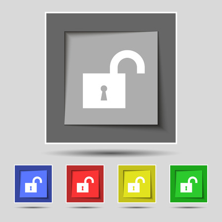 secret number: open lock icon sign on original five colored buttons. Vector illustration