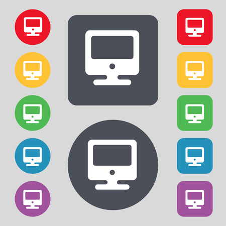 incrustation: monitor icon sign. A set of 12 colored buttons. Flat design. Vector illustration