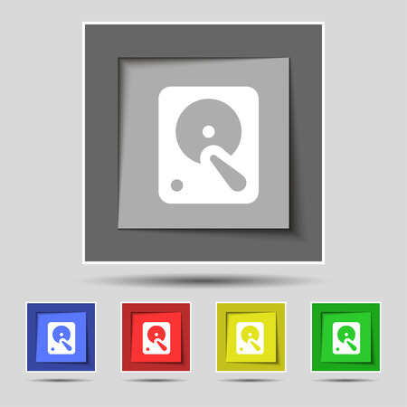 hard disk icon sign on original five colored buttons. Vector illustration