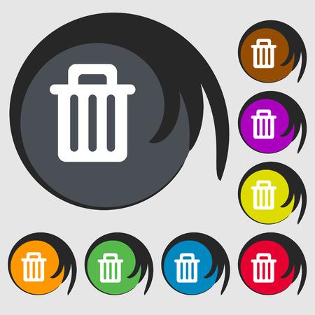 papelera de reciclaje: Papelera de reciclaje icono de signo. S�mbolo de ocho botones de colores. Ilustraci�n vectorial