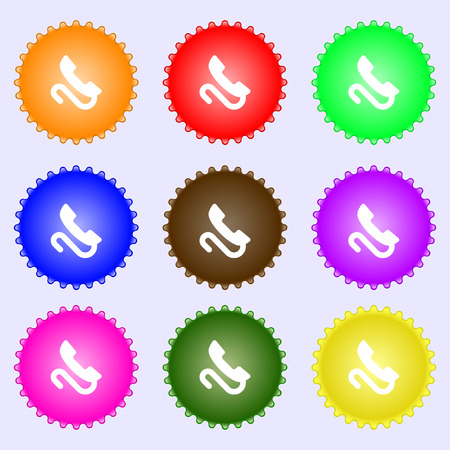 tel: retro telephone handset  icon sign. A set of nine different colored labels. Vector illustration