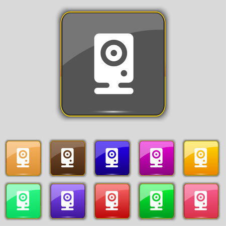 web cam: Web cam icon sign. Set with eleven colored buttons for your site. Vector illustration